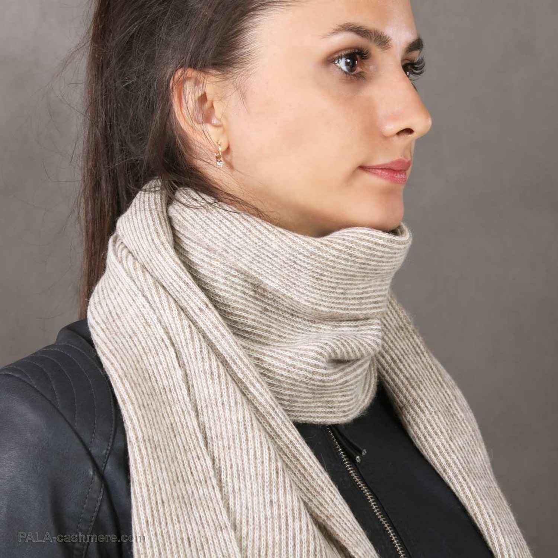 Yak wool scarf  in fine stripes