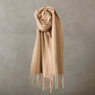 Camel wool scarf in stripes