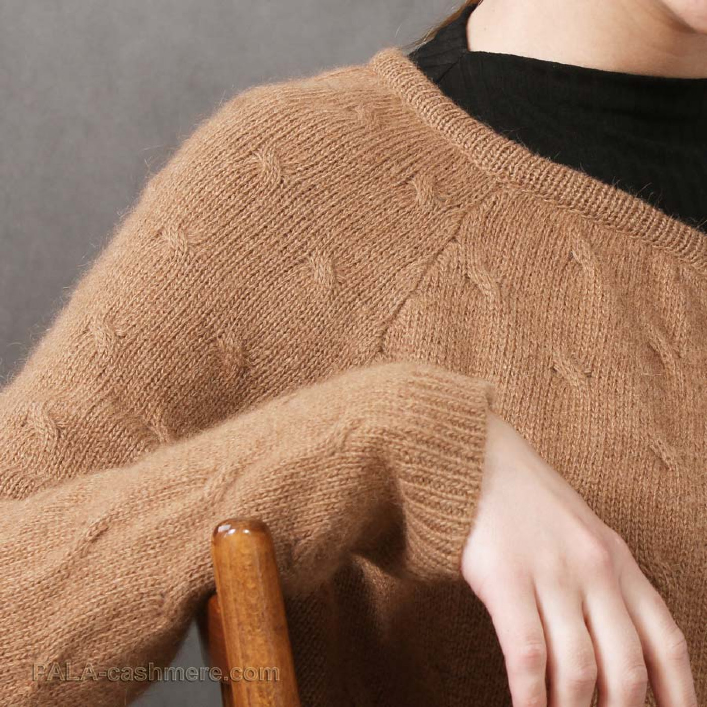 Cardigan from camel hair on a button with a pattern