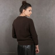 """Cardigan female brown from yak wool with a pattern """"rhombus"""""""