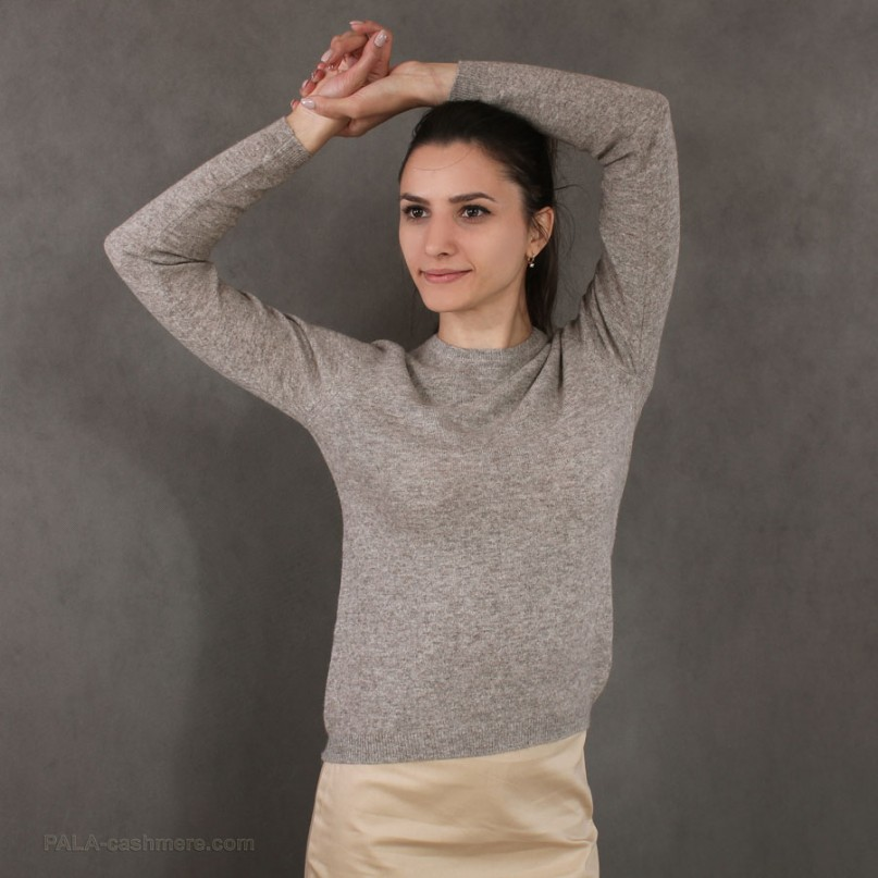 Cardigan female beige from lamb's wool