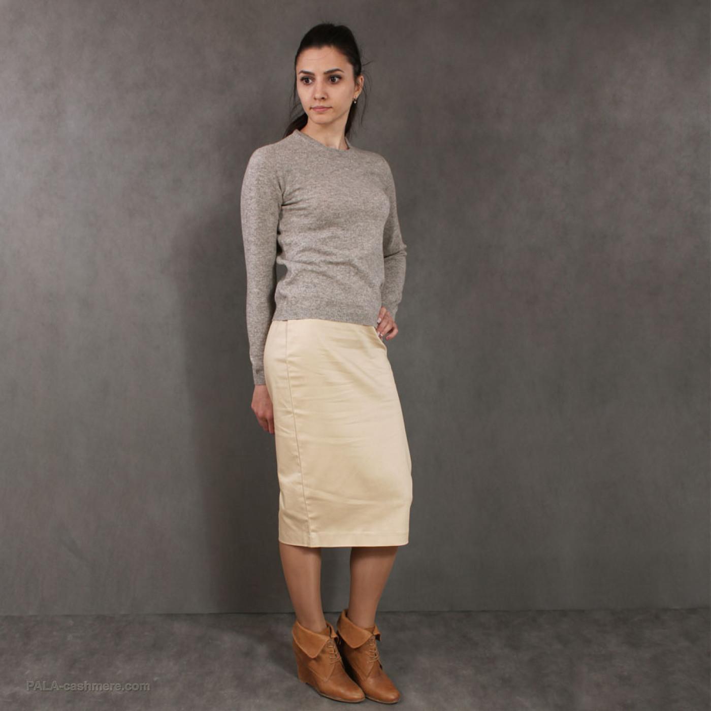 Cardigan female beige from lamb's wool