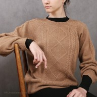 "Sweater female from camel wool picture ""rhombus"""