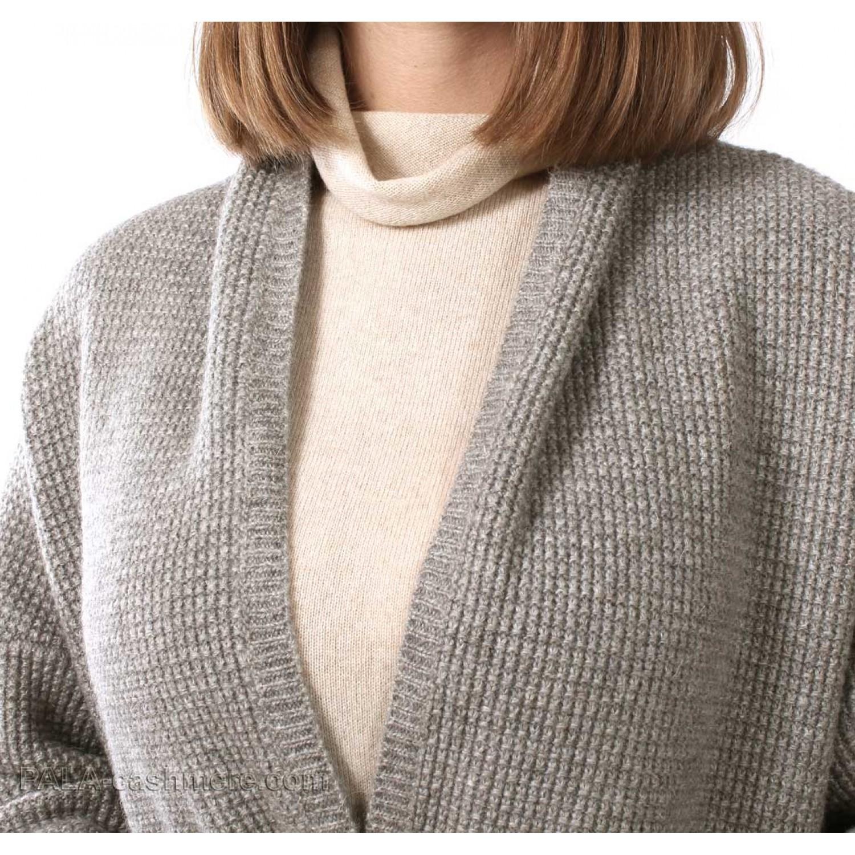 Cardigan yak wool gray (structural knitting)