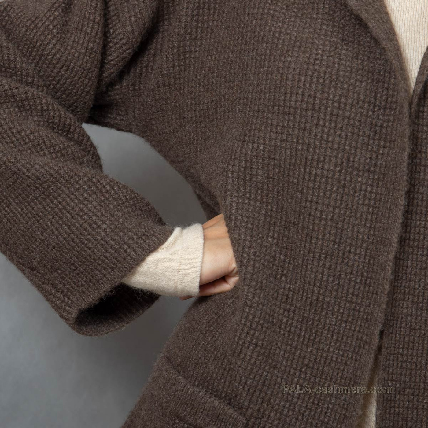 Кардиган из шерсти яка коричневый