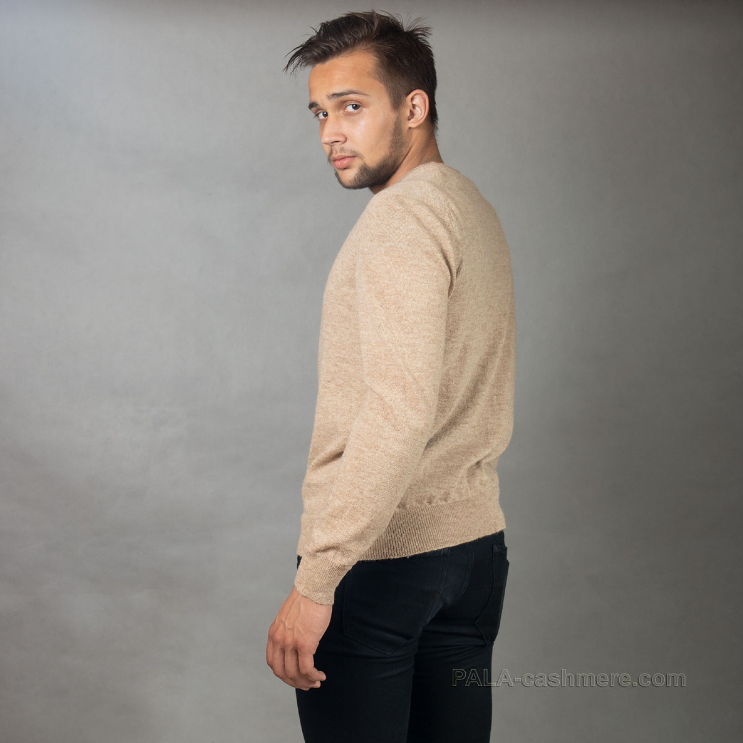 Camel hair pullover for men