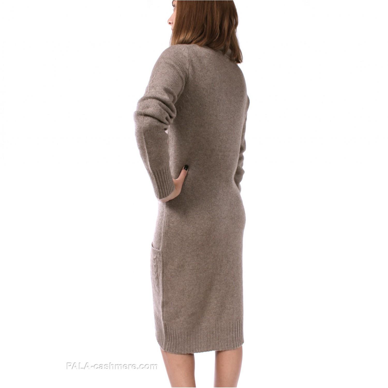Платье кашемир бежевое с воротом