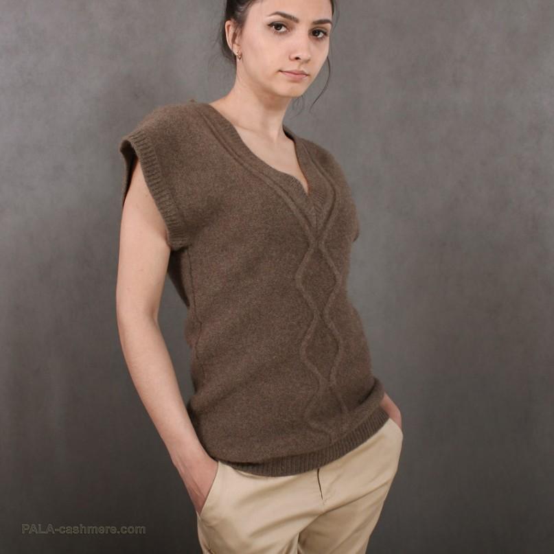 "Women's Yak wool Waistcoat  colored ""coffee"""