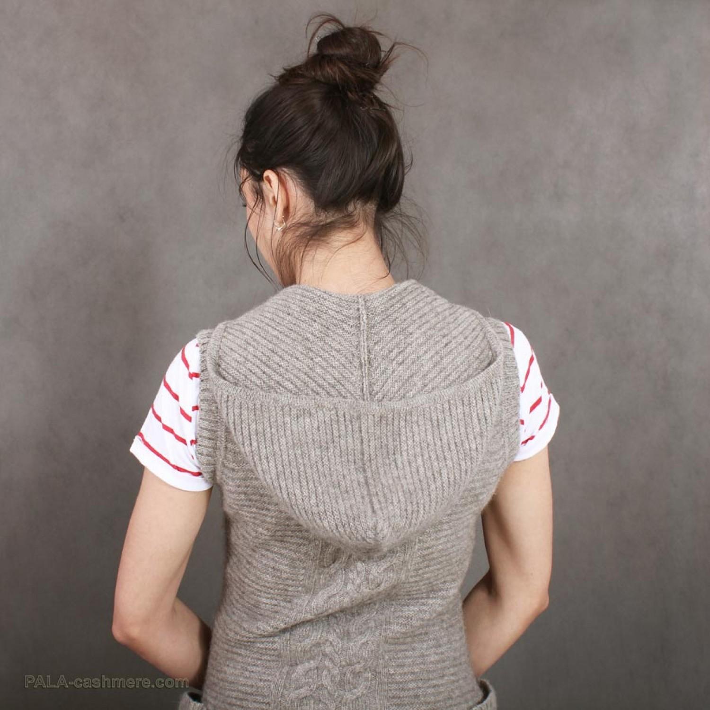 Women's Yak wool waistcoat with a hood
