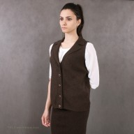 Yak wool women's vest brown with buttons